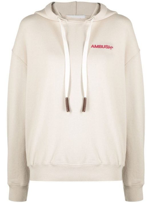 AMBUSH logo-print hoodie - Nude