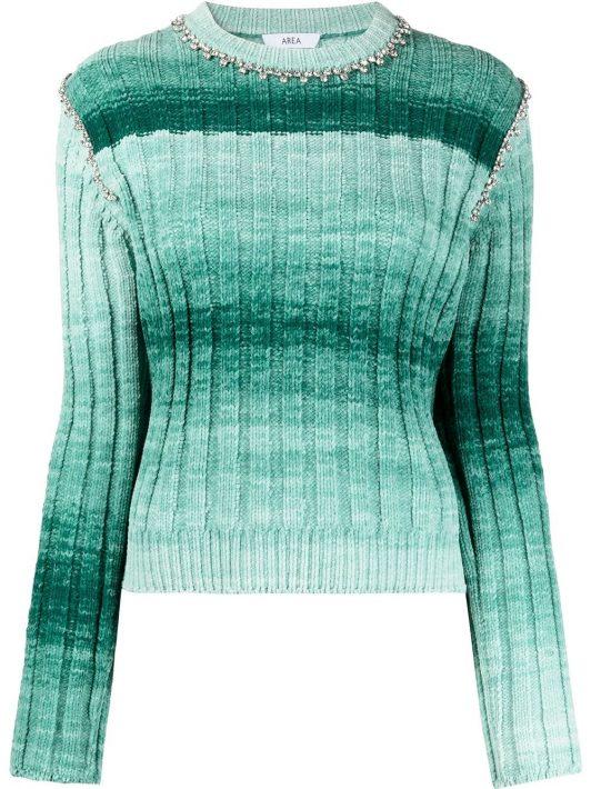 AREA Verzierter Strickpullover - Grün