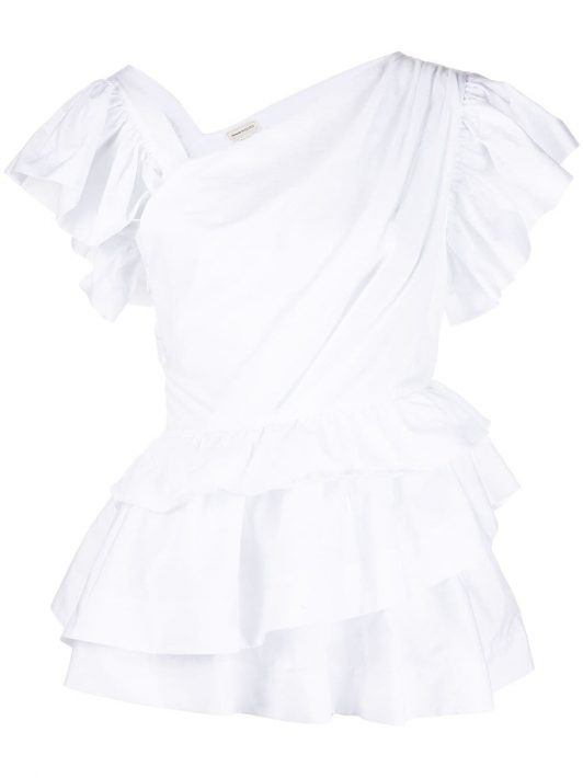 Alexander McQueen T-Shirt mit Rüschen - Weiß