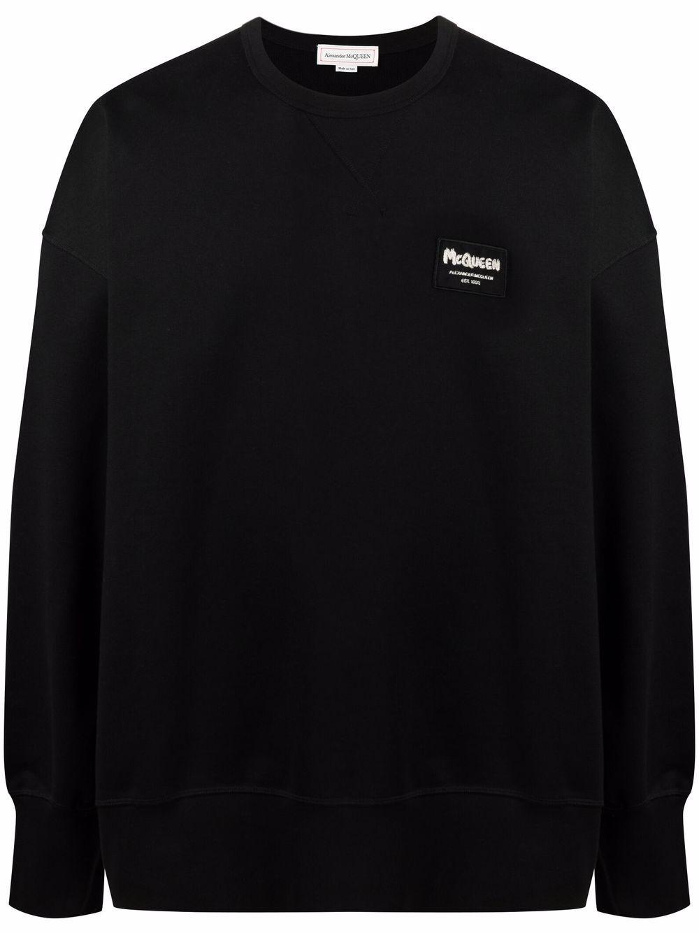 Alexander McQueen logo-patch sweatshirt - Schwarz