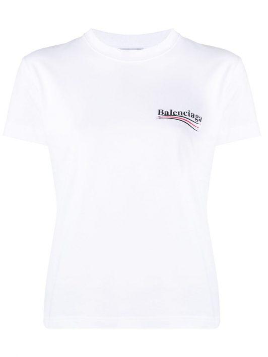 Balenciaga T-Shirt mit Logo-Print - Weiß