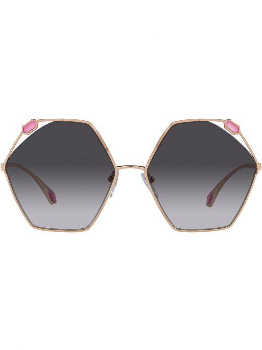 Bvlgari Sonnenbrille mit geometrischem Gestell - Grau