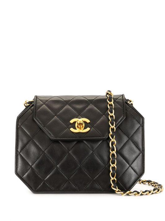 Chanel Pre-Owned 1990s Umhängetasche mit Rauten-Steppung - Schwarz