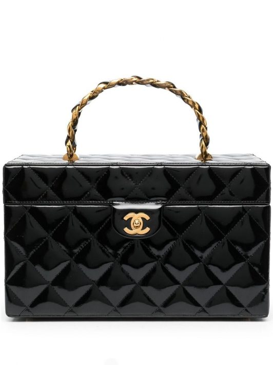 Chanel Pre-Owned 1991-1994 Kosmetikkoffer mit Rautensteppung - Schwarz