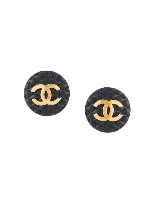 Chanel Pre-Owned Ohrclips mit CC - Schwarz