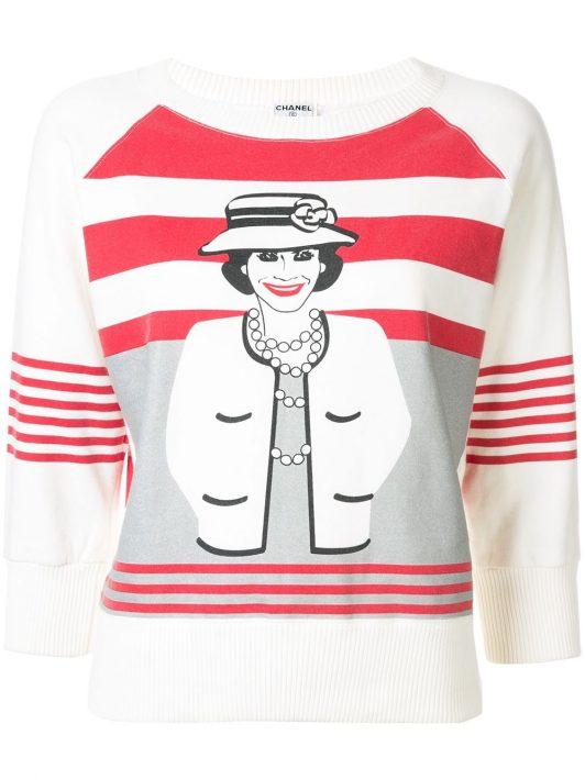 "Chanel Pre-Owned Sweatshirt mit ""Mademoiselle""-Print - Weiß"