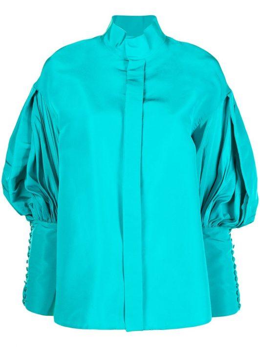 Dice Kayek high-neck poet sleeve shirt - Blau