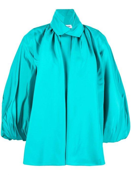 Dice Kayek puff-sleeve silk shirt - Blau