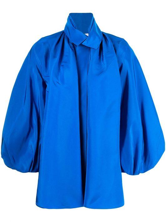Dice Kayek silk puffed-sleeve tuxedo shirt - Blau