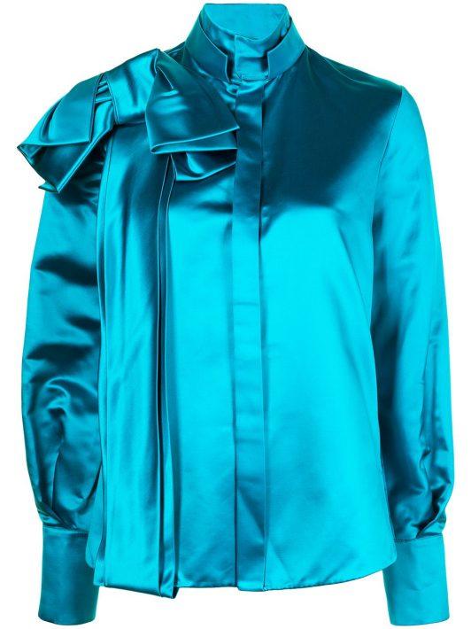 Dice Kayek silk shoulder-bow shirt - Blau