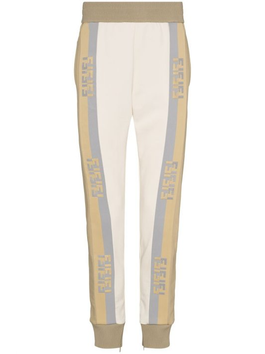 Fendi logo-tape track pants - Nude