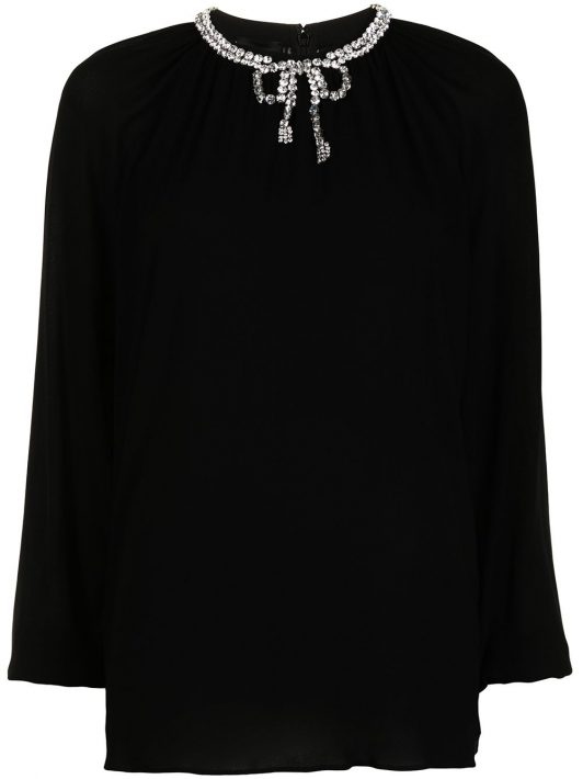 Giambattista Valli crystal-embellished long-sleeve blouse - Schwarz