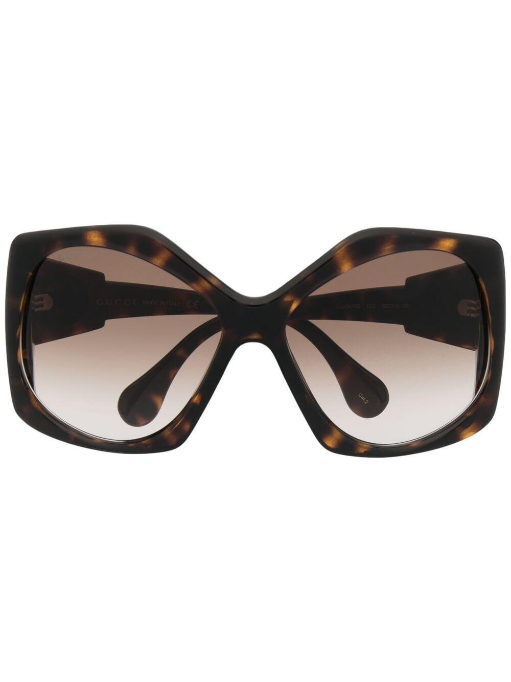 Gucci Eyewear Oversized-Sonnenbrille in Schildpattoptik - Braun