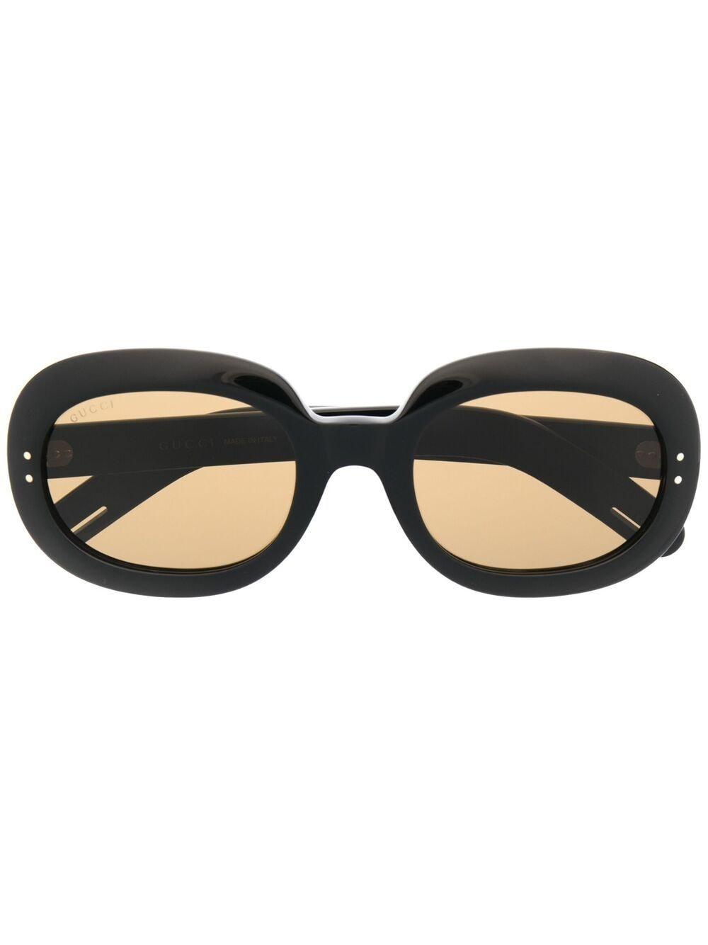 Gucci Eyewear Sonnenbrille mit ovalem Gestell - Schwarz