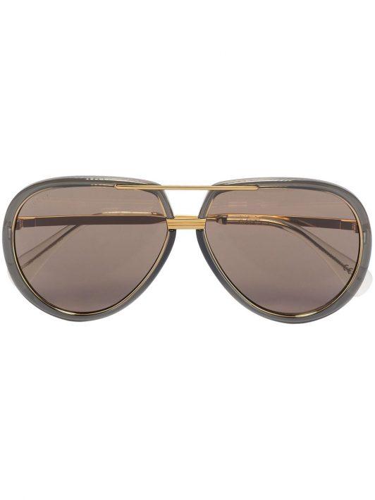 Gucci Eyewear logo-engraved aviator-frame sunglasses - Braun