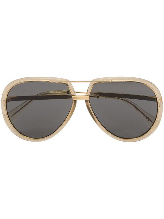 Gucci Eyewear logo-engraved aviator-frame sunglasses - Gold