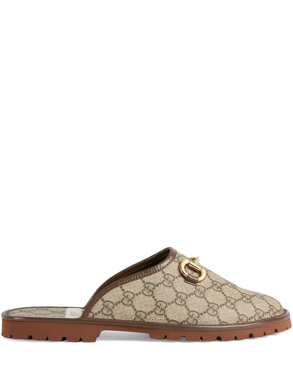 Gucci GG monogram horsebit-detail slippers - Nude