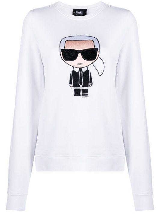 Karl Lagerfeld 'Ikonik' Sweatshirt mit Strass - Weiß
