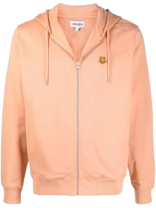 Kenzo embroidered-design zip-fastening hoodie - Orange