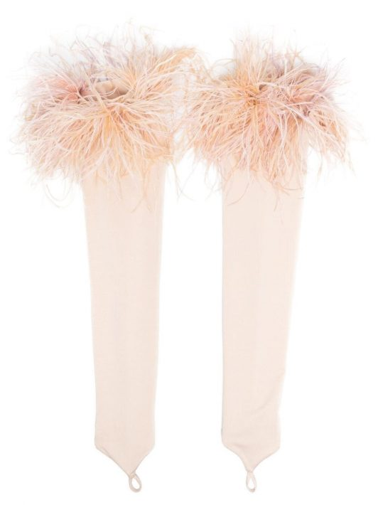 Loulou feather-trimmed fingerless gloves - Nude