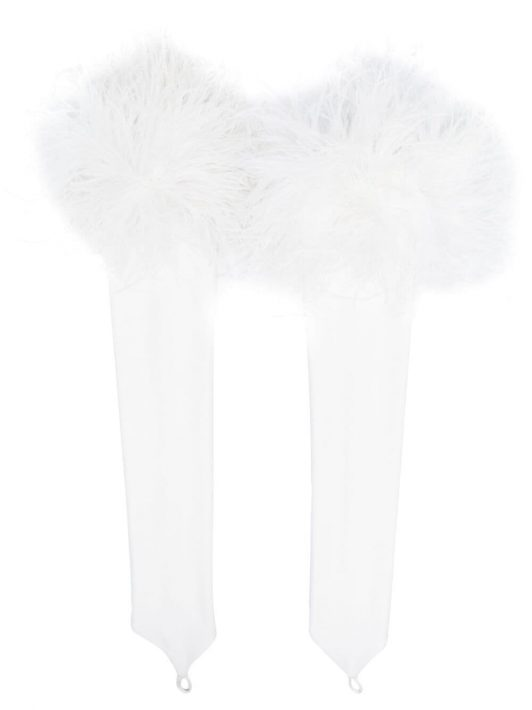 Loulou feather-trimmed fingerless gloves - Weiß
