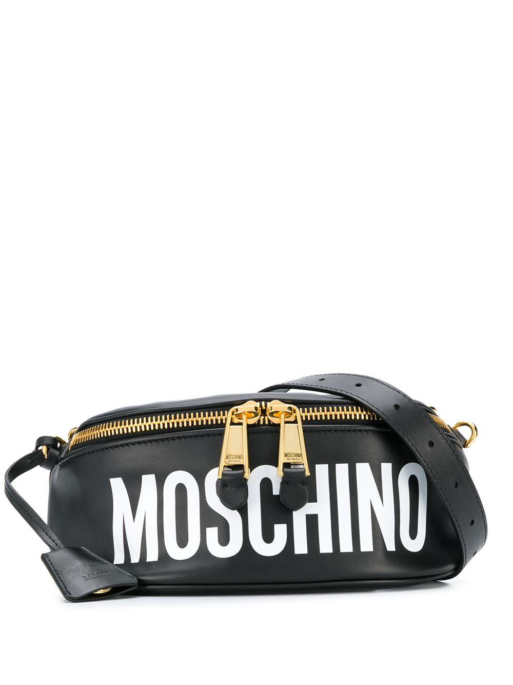 Moschino Gürteltasche mit Logo-Print - Schwarz