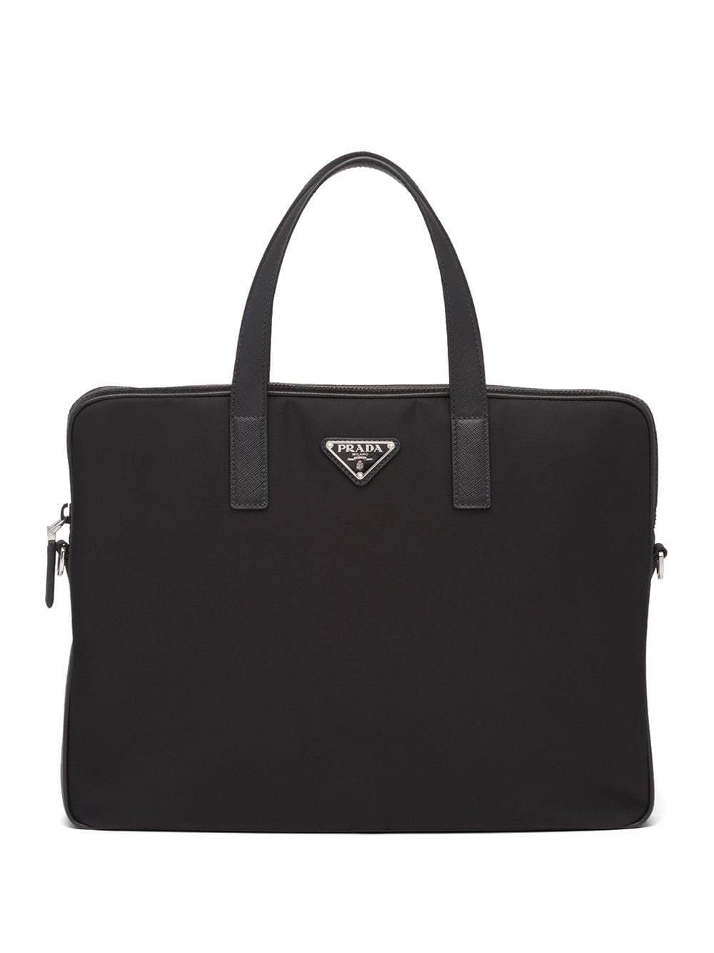 Prada Aktentasche mit dreieckigem Logo - Schwarz