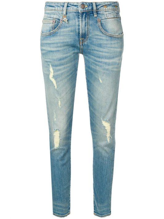 R13 Skinny-Jeans in Distressed-Optik - Blau