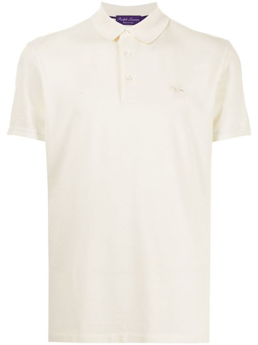 Ralph Lauren Purple Label embroidered logo polo shirt - Nude