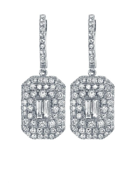 SHAY 18kt white gold pave diamond baguette drop earrings - Silber
