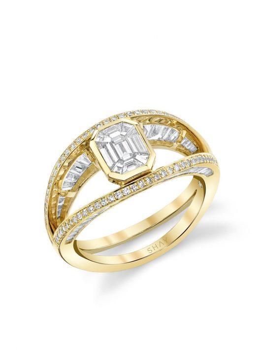 SHAY 18kt yellow gold open halo diamond ring