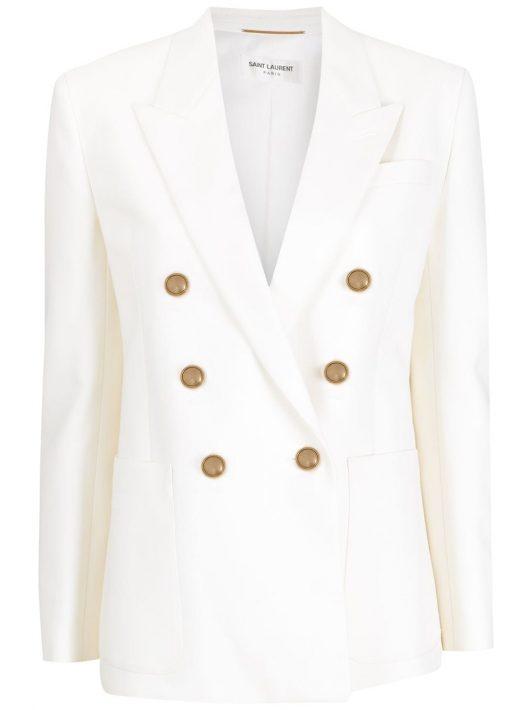 Saint Laurent Doppelreihiger Blazer - Weiß