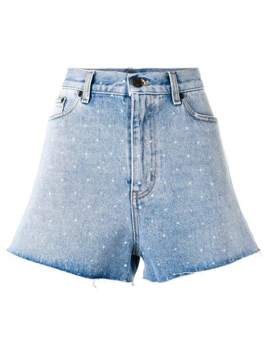 Saint Laurent Gepunktete Jeans-Shorts - Blau