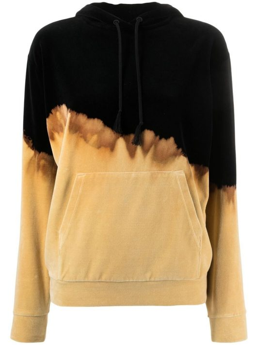Saint Laurent bleached drawstring hoodie - Schwarz