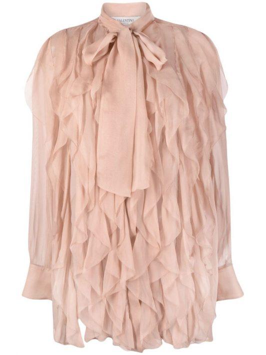 Valentino sheer long-sleeve blouse - Rosa