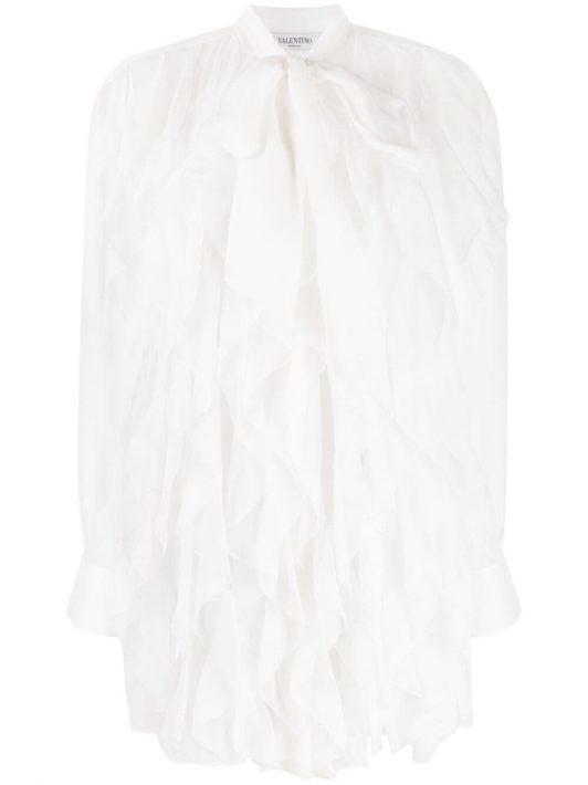 Valentino sheer ruffle-embellished silk blouse - Weiß