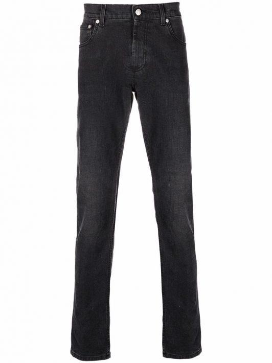 Alexander McQueen Gerade Jeans mit Logo-Stickerei - Grau