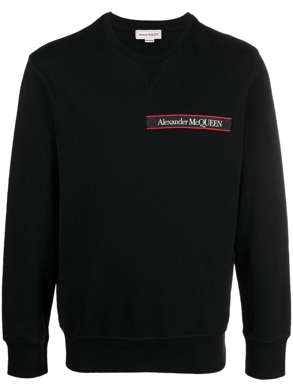 Alexander McQueen Sweatshirt mit Logo-Streifen - Schwarz
