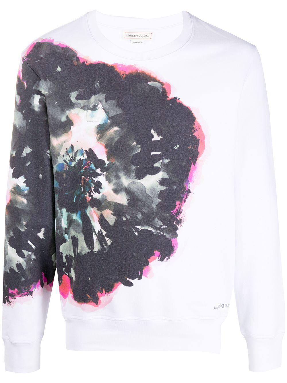 Alexander McQueen Sweatshirt mit abstraktem Print - Weiß