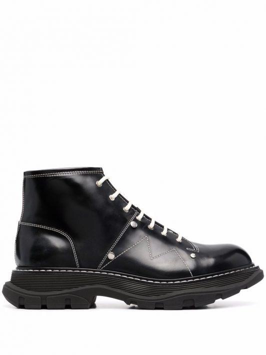 Alexander McQueen Tread lace-up boots - Schwarz