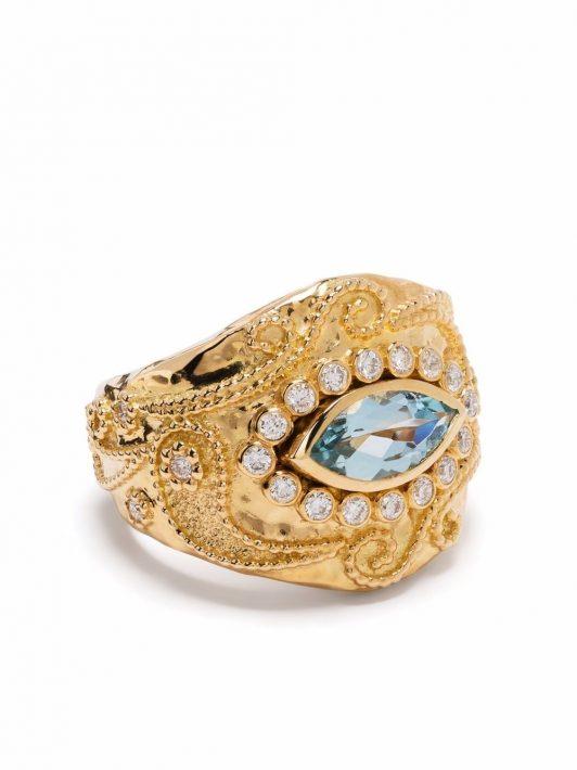 Aurelie Bidermann 18kt Cashmere Gelbgoldring mit Diamanten und Aquamarin