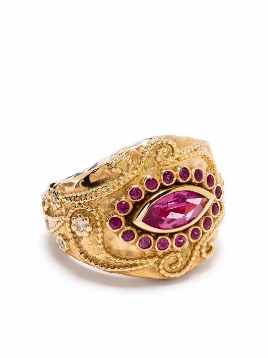 Aurelie Bidermann 18kt yellow gold Cashmere rubellite, ruby and diamond ring