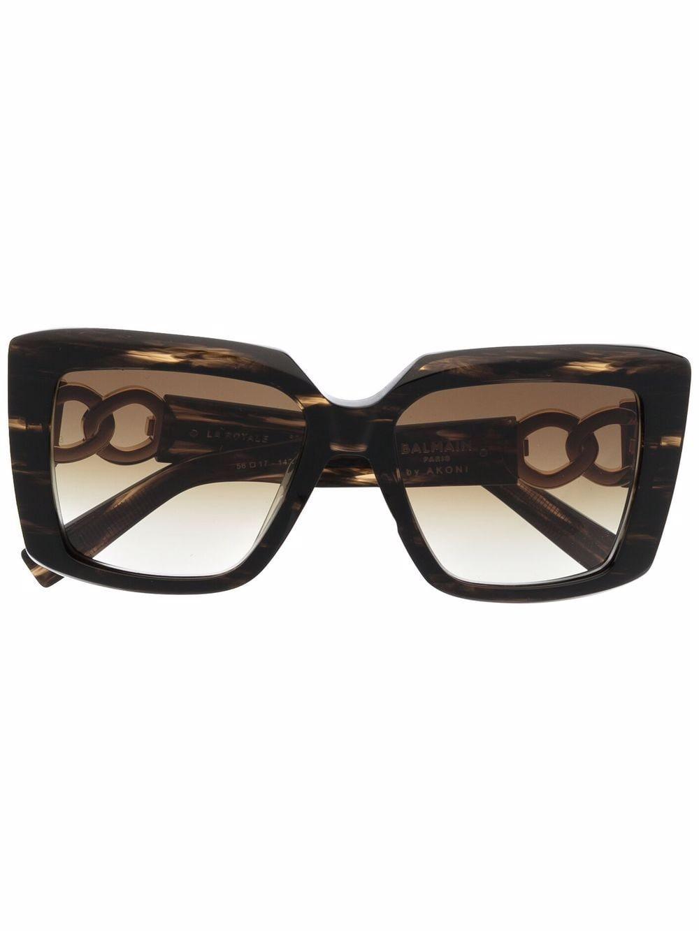 Balmain Eyewear Eckige La Royale Sonnenbrille - Braun