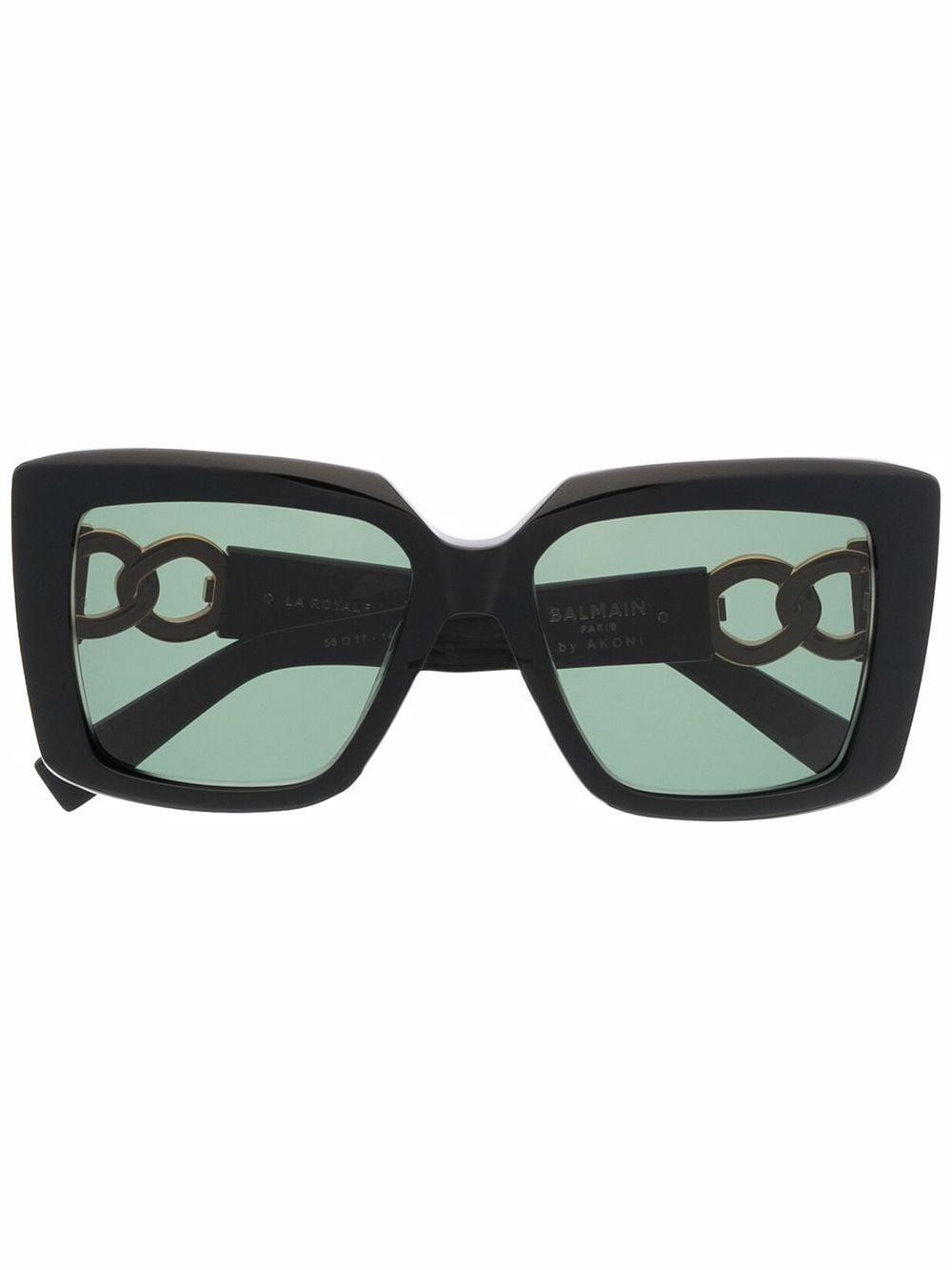 Balmain Eyewear Eckige La Royale Sonnenbrille - Schwarz