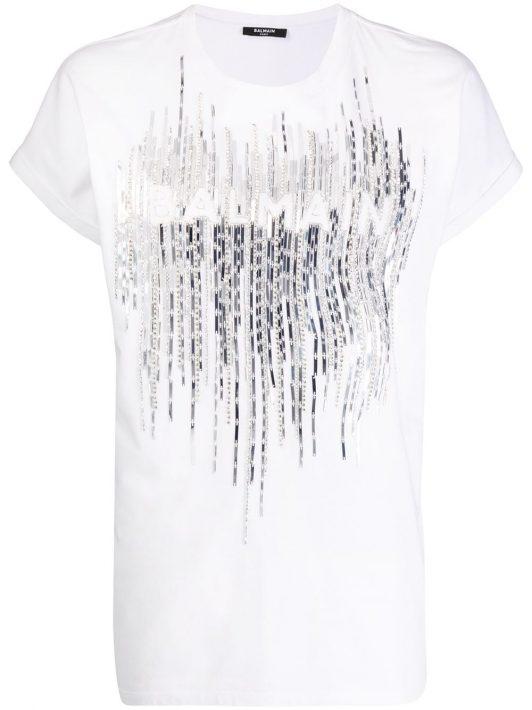 Balmain Verziertes T-Shirt mit Logo - Weiß