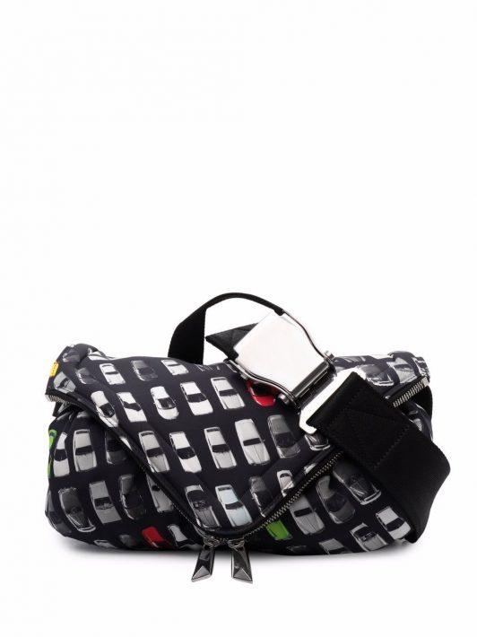 Bottega Veneta Beak car-print belt bag - Schwarz
