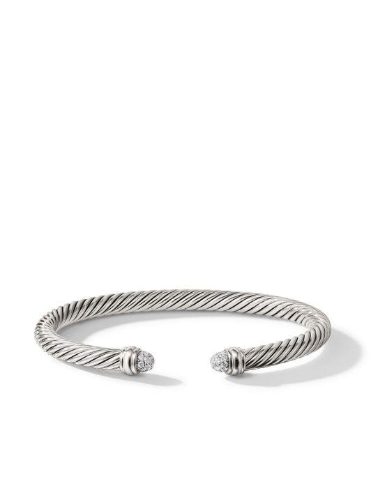 David Yurman Cable Armspange mit Diamanten - Silber