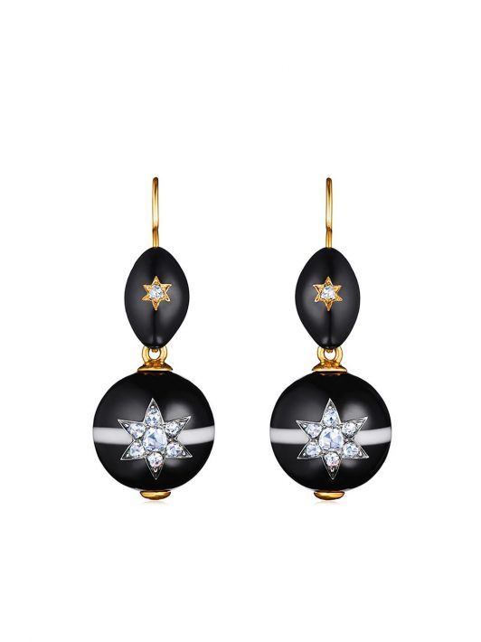 FRED LEIGHTON 14kt Gelbgoldohrringe mit Diamanten