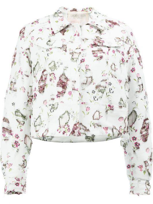 Giambattista Valli Distressed-Jacke mit Blumenmuster - Weiß