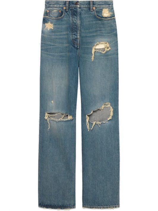 Gucci Boyfriend-Jeans in Distressed-Optik - Blau